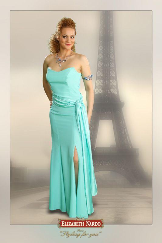 13-209 egy részes zöld szatén sliccelt alkalmi ruha - ELIZABETH ... 7df6627863