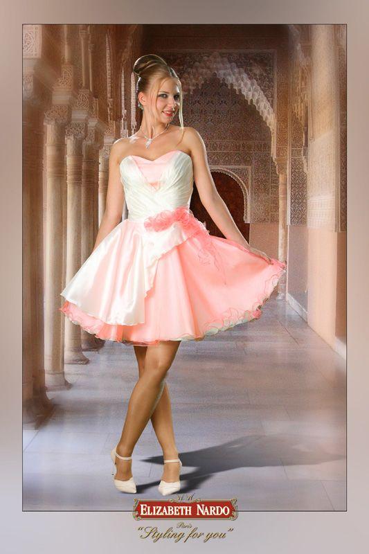 ce1cebfc5b 13-127 krém taft és rózsaszín tüll kombináció, derékban vágott körloknis  ruha