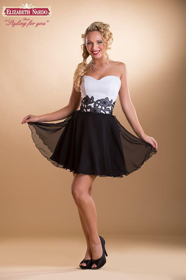 ebf6769672 15-334 koktél ruha:fekete-fehér,csipke díszitéses,muszlin ...
