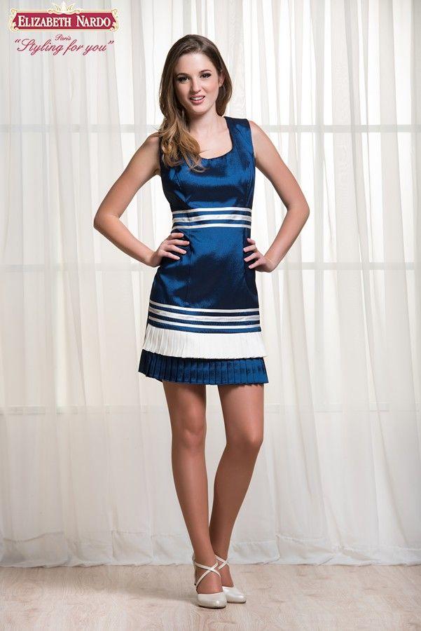 17-408 Örömanyaruha, Kék, krém szatén, előről rakott szoknya, vállas