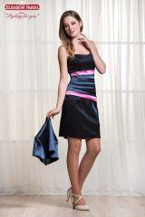 a85636d5f8 17-406 Koktélruha, Kék, pink sztreccs szatén zsorzsett, mell alatt rakott,  boleróval