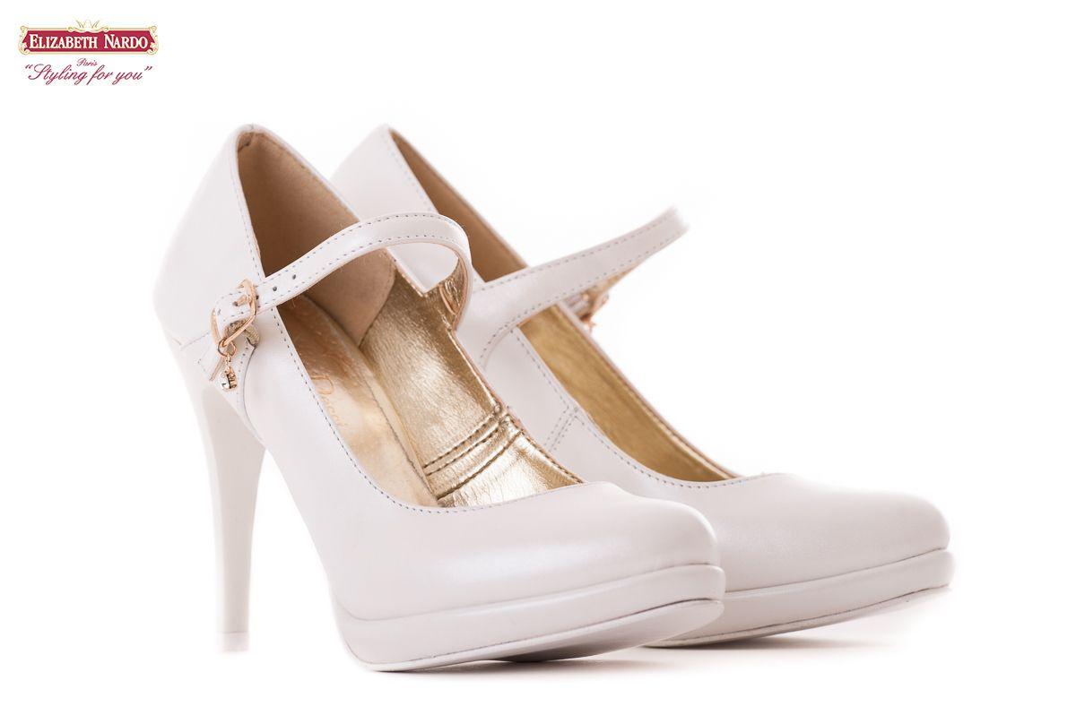 17-901 Claudio Dessi fehér női bőrcipő 10,5 cm-es sarokkal emelt talppal